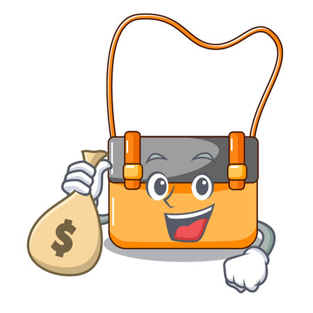 With money bag messenger bag on a isolated mascot vector illustration
