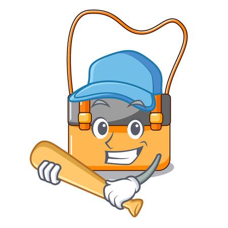 Playing baseball messenger bag on a isolated mascot vector illustration