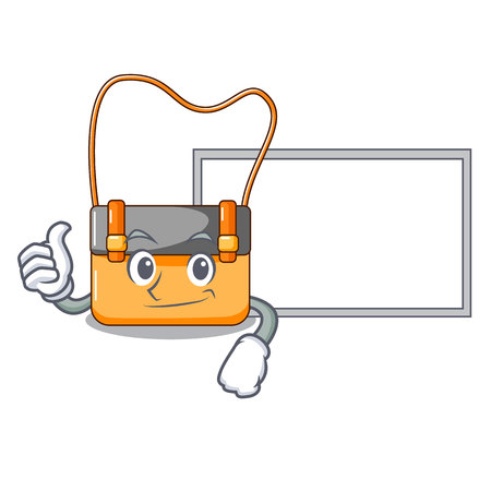 Thumbs up with board messenger bag on a isolated mascot vector illustration