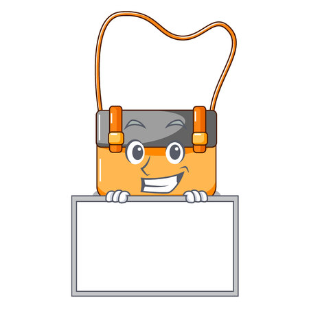 Grinning with board messenger bag on a isolated mascot vector illustration