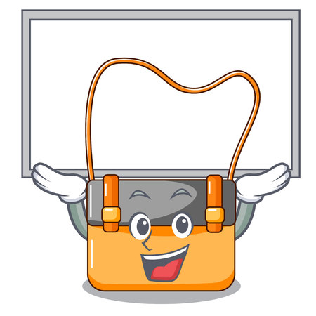 Up board messenger bag on a isolated mascot vector illustration