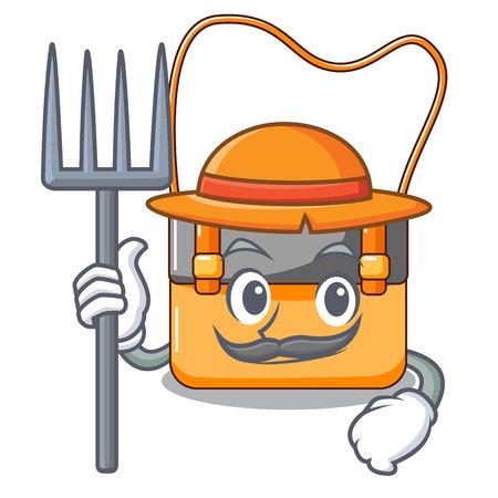 Farmer messenger bag on a isolated mascot vector illustration