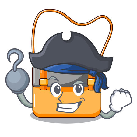 Pirate messenger bag on a isolated mascot vector illustration