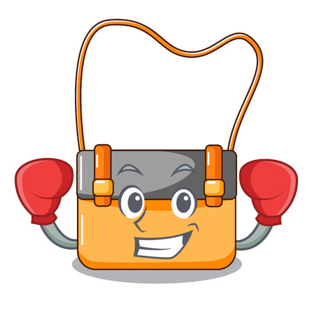 Boxing messenger bag on a isolated mascot vector illustration