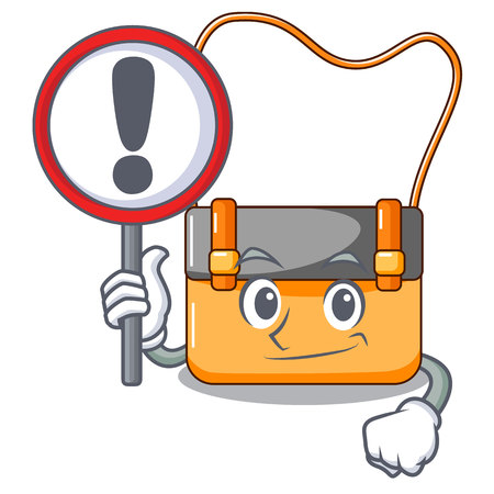 With sign messenger bag on a isolated mascot vector illustration