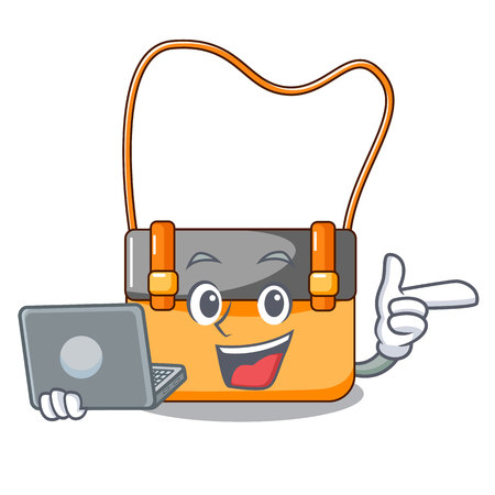 With laptop messenger bag on a isolated mascot vector illustration
