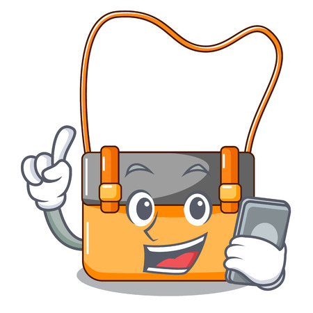 With phone messenger bag on a isolated mascot vector illustration
