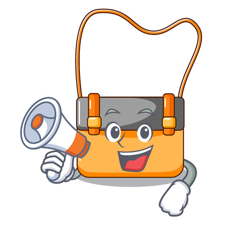 With megaphone messenger bag on a isolated mascot vector illustration