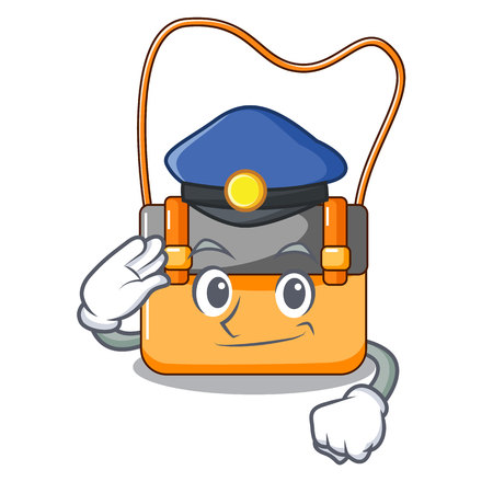 Police messenger bag on a isolated mascot vector illustration