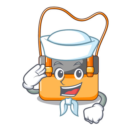 Sailor messenger bag on a isolated mascot vector illustration
