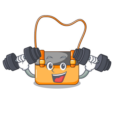 Fitness messenger bag on a isolated mascot vector illustration