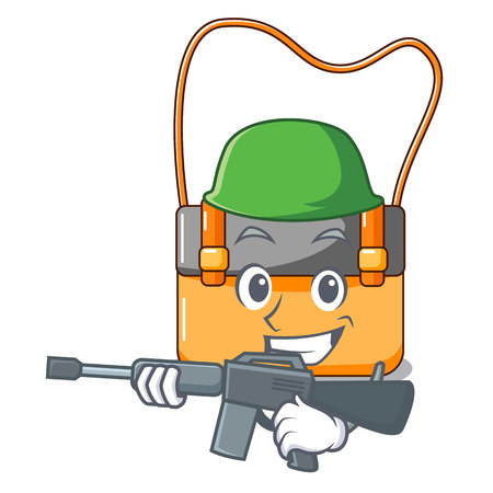 Army messenger bag on a isolated mascot vector illustration