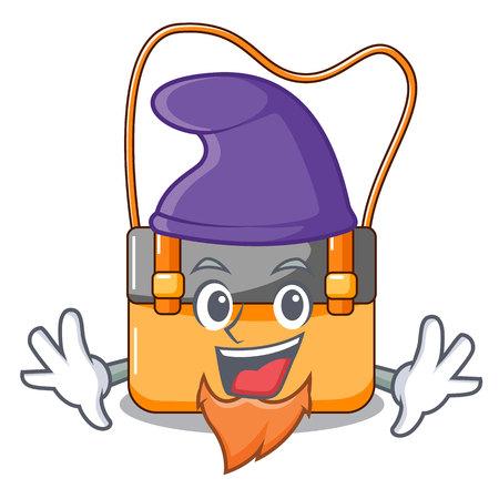 Elf messenger bag on a isolated mascot vector illustration