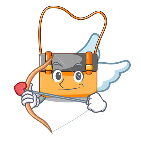 Cupid messenger bag on a isolated mascot vector illustration