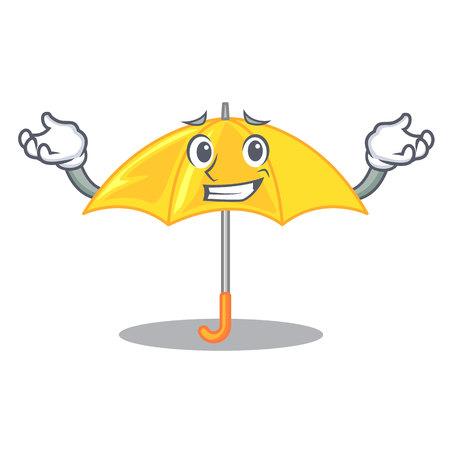 Grinning umbrella yellow in a shape cartoon