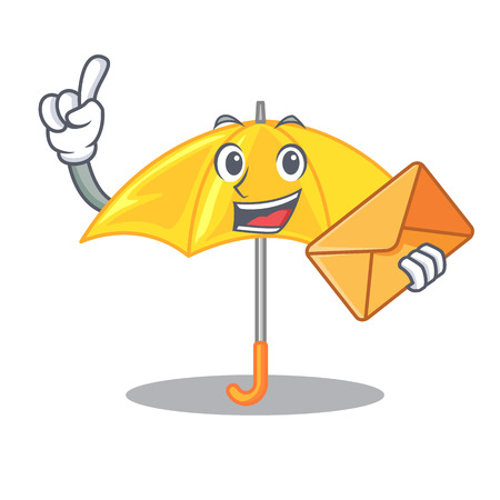 With envelope umbrella yellow in a shape cartoon