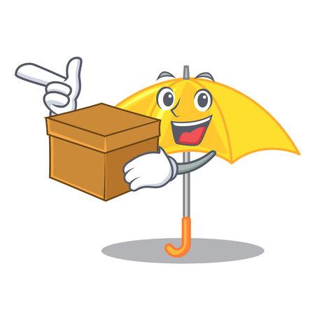 With box umbrella yellow in a shape cartoon