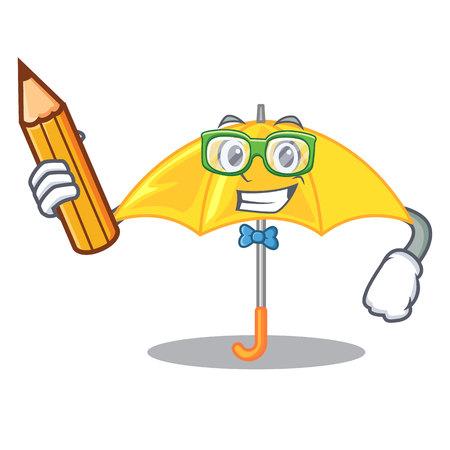 Student umbrella yellow in a shape cartoon