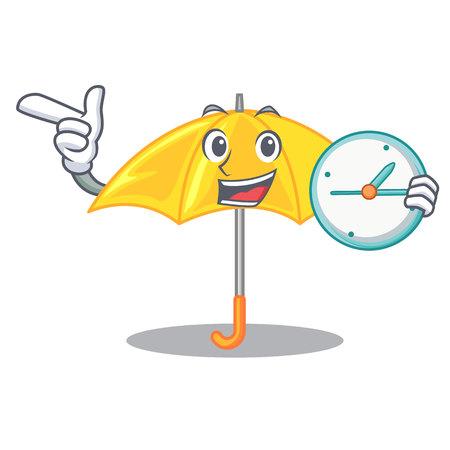 With clock umbrella yellow in a shape cartoon
