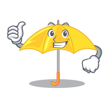 Thumbs up umbrella yellow in a shape cartoon
