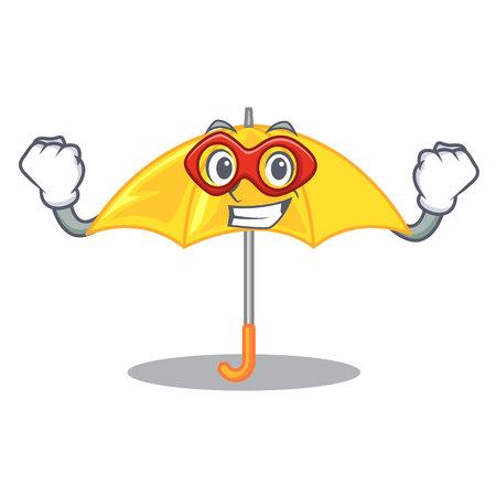 Super hero umbrella yellow in a shape cartoon