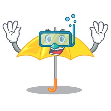 Diving umbrella yellow in a shape cartoon