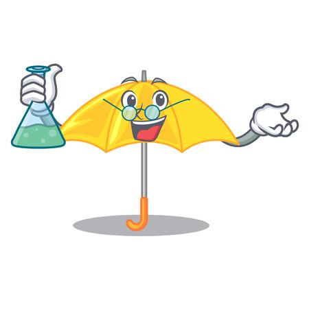 Professor umbrella yellow in a shape cartoon
