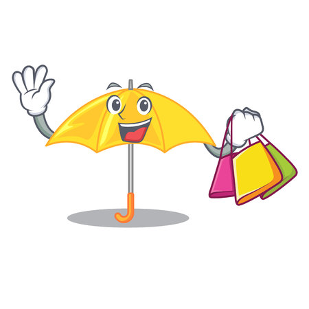 Shopping umbrella yellow in a shape cartoon