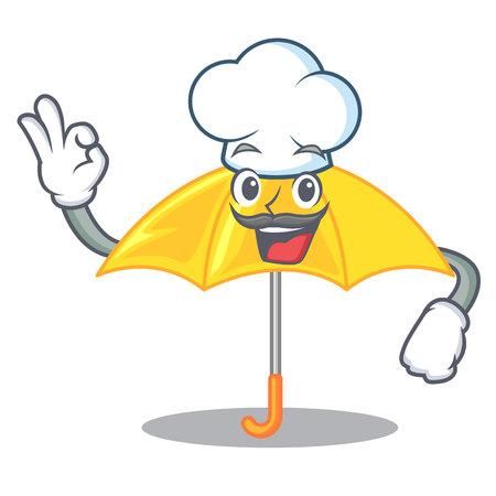 Chef umbrella yellow in a shape cartoon