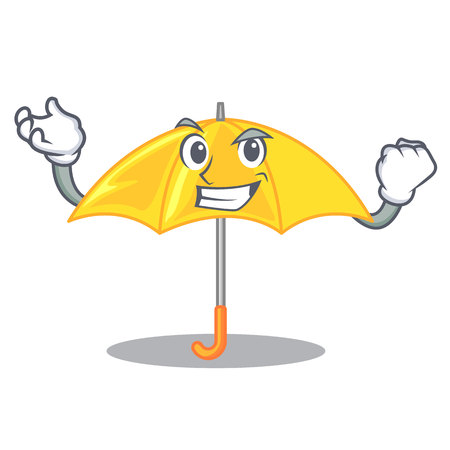 Successful umbrella yellow in a shape cartoon