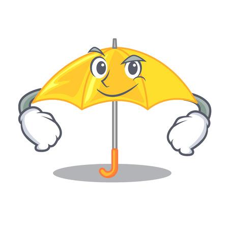 Smirking umbrella yellow in a shape cartoon