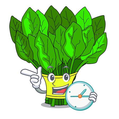 Illustration pour With clock vegetable spinach on a cartoon plate vector illustration - image libre de droit