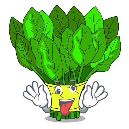 Illustration pour Crazy vegetables spinach isolated on the mascot vector illustration - image libre de droit