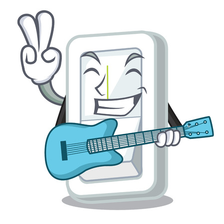 With guitar light switch is isolated with mascot vector illustration
