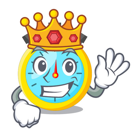 King cartoon stopwatch on for the race vector illustration