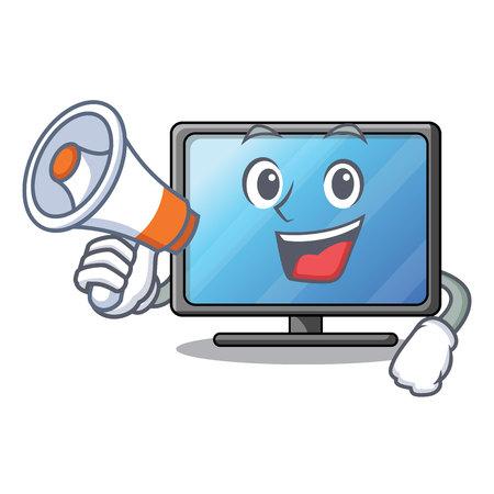 Illustration pour With megaphone lcd tv cartoon in living room vector illustration - image libre de droit