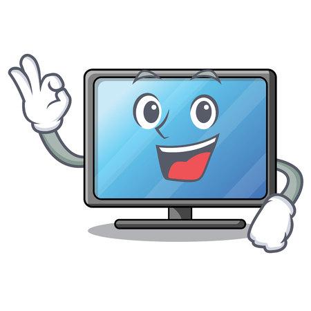 Illustration pour Okay lcd tv above wooden cartoon table vector illustration - image libre de droit