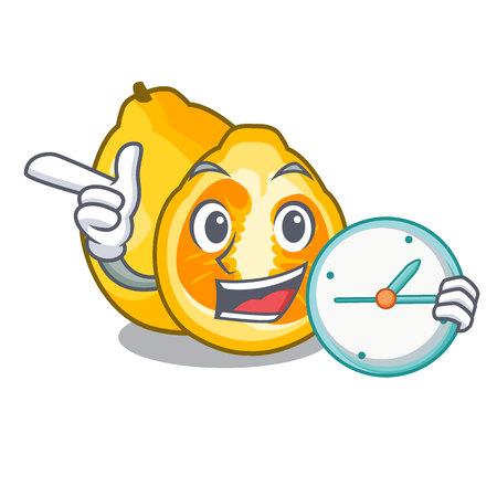 Illustration pour With clock ugli in the mascot fruit basket illustration vector - image libre de droit