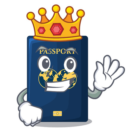 King blue passport isolated with the cartoonsillustration vector