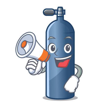 Illustration pour With megaphone air tank diving in cartoon shape vector illustration - image libre de droit