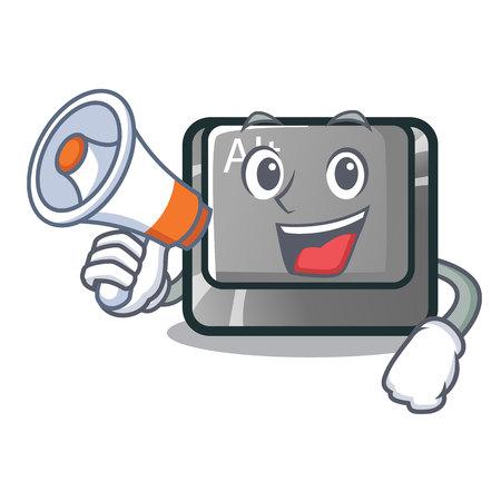 Illustration pour With megaphone alt button in the cartoon shape vector illustration - image libre de droit