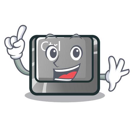 Finger ctrl button on the cartoon keyboard vectoir illustration