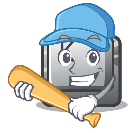 Illustration pour Playing baseball button K isolated with the mascot vectro illustration - image libre de droit