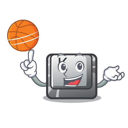 Illustration pour With basketball button K isolated with the mascot vectro illustration - image libre de droit