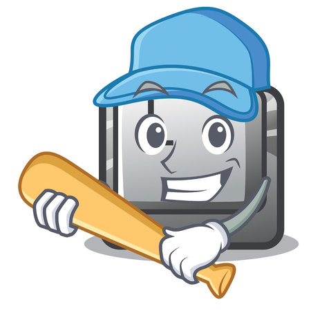 Illustration pour Playing baseball button K attached to character keyboard vector illustration - image libre de droit