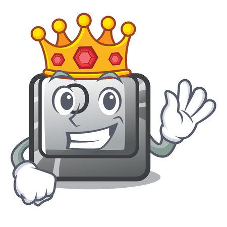 King O button installed on mascot computer vector illustration