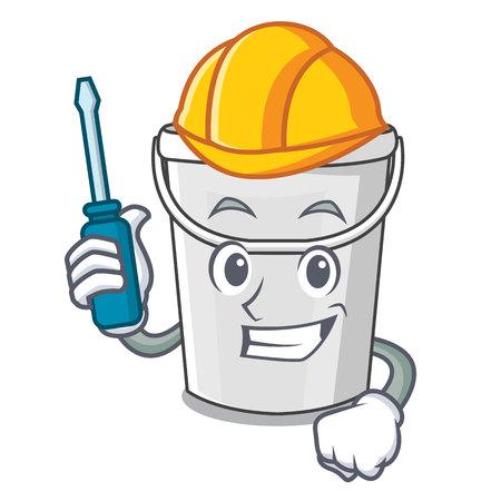 Illustration pour Automotive plastic tube bucket in the mascot - image libre de droit