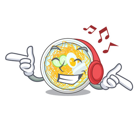 Listening music naengmyeon isolated with in the character