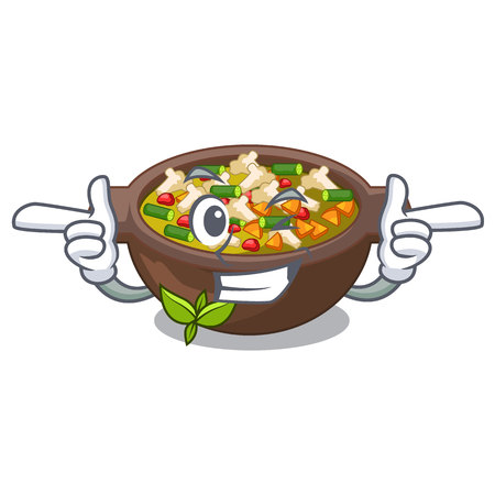 Wink minestrone is served in cartoon bowl vector illustration