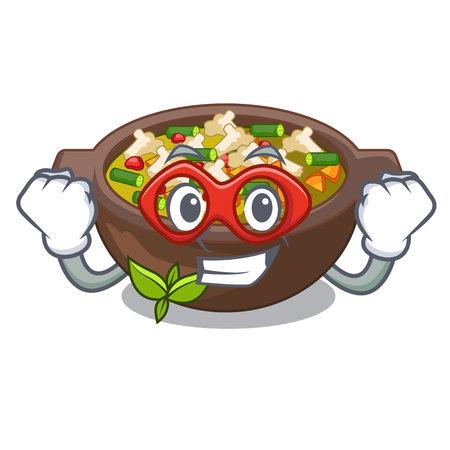 Super hero minestrone is served in cartoon bowl